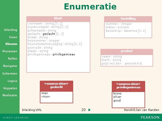 Enumeratie klant bestelling voornaam : string [0..1] nummer : integer